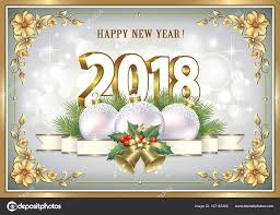 postcard happy new year 2018 with a ball and ribbon with bells in a frame with a fl pattern vector ilration vector by seriga