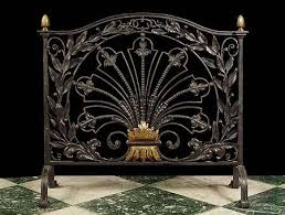 antique fireplace screen. elaborate antique fireplace screen in iron and brass. late19th century. fan motif - english 5