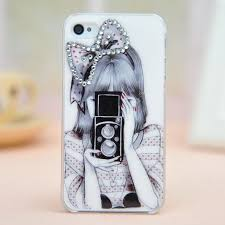 iphone 4 cases for girls. cool bowknot girl taking photo rhinestone hard cover case for iphone 4/4s/5 4 cases girls