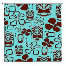 hawaiian shower curtains aqua and brown shower curtain by on vintage hawaii shower curtain