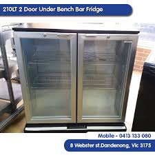 euro tag 210lt 2 door under bench bar fridge