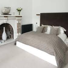 Double Bed With Calming Grey And White Cones Fireplace Raised Headboard Bedroom  Ideas Blue Of The . Calming Bedroom ...