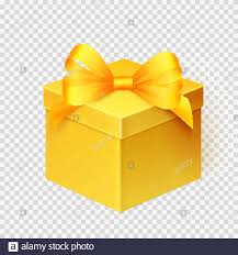 Gift Box Design Realistic Yellow Gift Box With Ribbon Isolated Over White