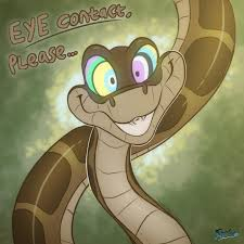 Set on a lithographic background; Eye Contact Please Kaa Hypnosis Know Your Meme