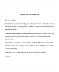 sample of employee contract termination letter letter of contract cancellation