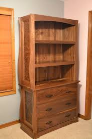 Custom Made Walnut Dresser With Bookcase