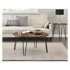 heywood retro round coffee table walnut