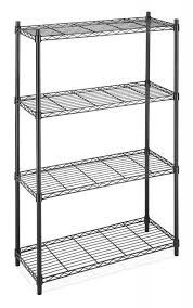 small metal shelf. Image Is Loading Black-Chrome-Commercial-4-Tier-Shelf-AdjustableSteel-Wire- Small Metal Shelf