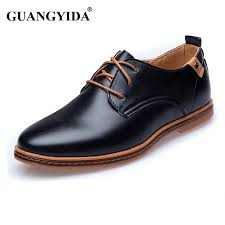 whole new 2018 men leather shoes casual leather lace up shoes black brown flat leather loafers oxford shoes plus size 45 46 47 direct from china