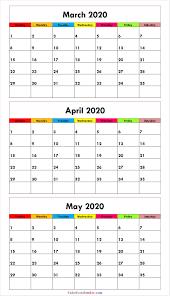 April May 2020 Calendar Printable Blank Cute March April May 2020 Calendar 2020 Calendar Outline