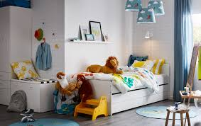 ikea kids bedroom furniture. A Blue, White And Yellow Jungle Theme Children\u0027s Bedroom With SLÄKT Bed Pull- Ikea Kids Furniture