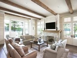 living room with tv over fireplace. Fireplace Beams Living Room Traditional With White Oak Wood Floor Tv Over T