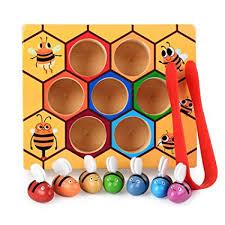 Guajave <b>Children Preschool Wooden</b> Bee Clip Out <b>Montessori</b> ...