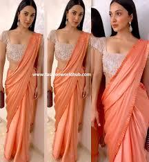 Designer Blouse Images By Manish Malhotra Kaira Advani In Orange Plain Saree By Manish Malhotra