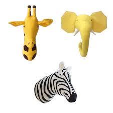 wall mount animal head toy stuffed