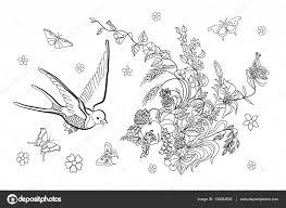 Kleurplaat Pagina Voor Volwassenen Met Bloemen Vogels En Vlinders
