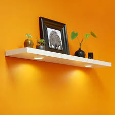 How To Make Floating Shelves With Lights Welland White Floating Shelf With Touch Sensing Battery Powered Led Light Wall Mounted Display Shelves For Entrance Living Room Bedroom Kitchen And