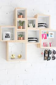 modern diy projects to try box storage shelves and comfortable wall hanging for 17