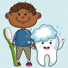 Sourire D Enfant De Dessin Anim Avec La Brosse Dents Et Dent De