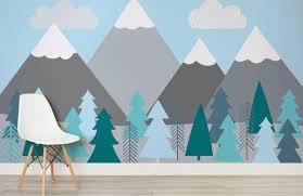 Berge Und Bäume Bemalte Tapete Kinder Baby Showers Tree Wall