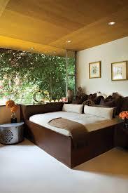 captivating bedroom recessed lighting on wooden ceiling design above dark brown varnishes oak wood platform bed