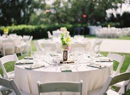 View in gallery White tables and chairs on a green lawn