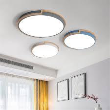 Simple Ceiling Light Us 37 38 11 Off Modern Simple Ceiling Light Led Circular Lamp Iron Wood Nodic Bedroom Living Dining Room Decoration Light Fixture Ac85 265v On