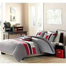 duvet covers queen 3pc boys comforter set teen reversible bedding machine wash red grey twin