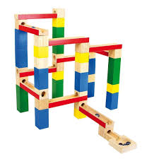 wooden marble run toy building blocks game 54 piece by legler for toys in australia