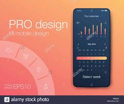Calendar Interface Design User Interface With Infographics With Charts And Graphs In