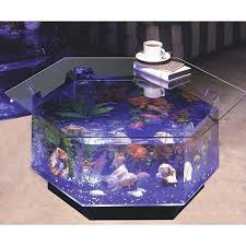 Aqua Hexagon Coffee Table 40 Gallon Aquarium Fish Tank Fountain Furniture  Pump