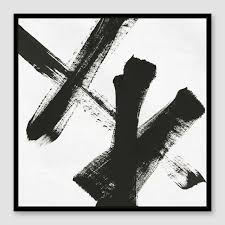 on black white framed wall art with framed black white abstract strokes canvas