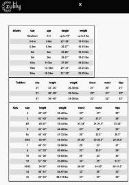 Zulily Size Chart For Little Lass Size Chart Chart Infant