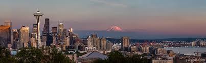 Seattle Cityscape Seattle Skyline And Mt Rainier Panoramic Hd