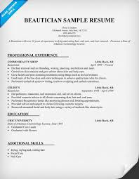 Beautician Sample Resume With Education And Professional Experience
