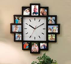 black 12 multi photo picture wall clock aperture frame time collage modern ogue