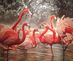 oil painting from photo pink flamingo