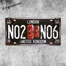 no2 no6 london uk license plate vintage metal painting garage wall art decor poster in plaques signs from home garden on aliexpress alibaba group on garage wall art uk with no2 no6 london uk license plate vintage metal painting garage wall
