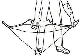 in one action draw up using the hand holding the bow this causes the limbs to bend downwards at the same time slide the string up the limb with the other