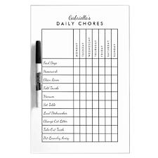 Chore Chart Board Simple Daily Chore Chart Dry Erase Board