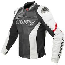 dainese racing c2 leather jacket black white red thumb 0