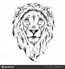 Etnické Ruční Kresba Hlavy Lva Totem Tetování Design Používá Se
