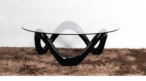 black glass coffee table. Round Glass Coffee Table With Black High Gloss Base R