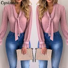 <b>Cysincos</b> Chiffon Blouses <b>Women</b> 2020 Summer Fashion Long ...