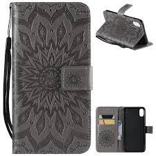 embossing sunflower leather wallet case for iphone xs max 6 5 inch gray