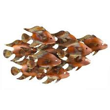 school of fish wall sculpture indoor outdoor safe metal art