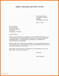 Decline Offer Letter Sample Letter To Decline Job Offer New Due Salary Template