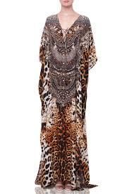 Luxury Long Lace Up Kaftan In Leopard Print Shahida Parides