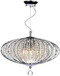 dar adriatic modern 5 light oval crystal ceiling pendant chrome