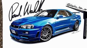 nissan skyline fast and furious drawing. Fast Furious Nissan Skyline GTR Speed Drawing By Darko Iker Throughout And